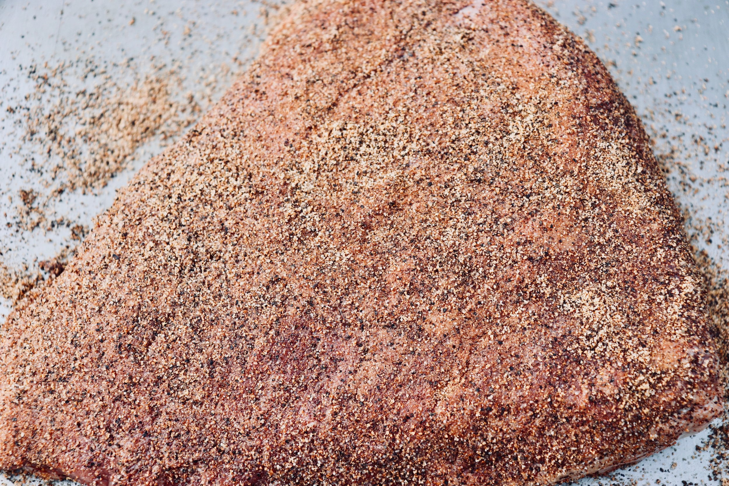 Dry rub liberally applied to the Picanha