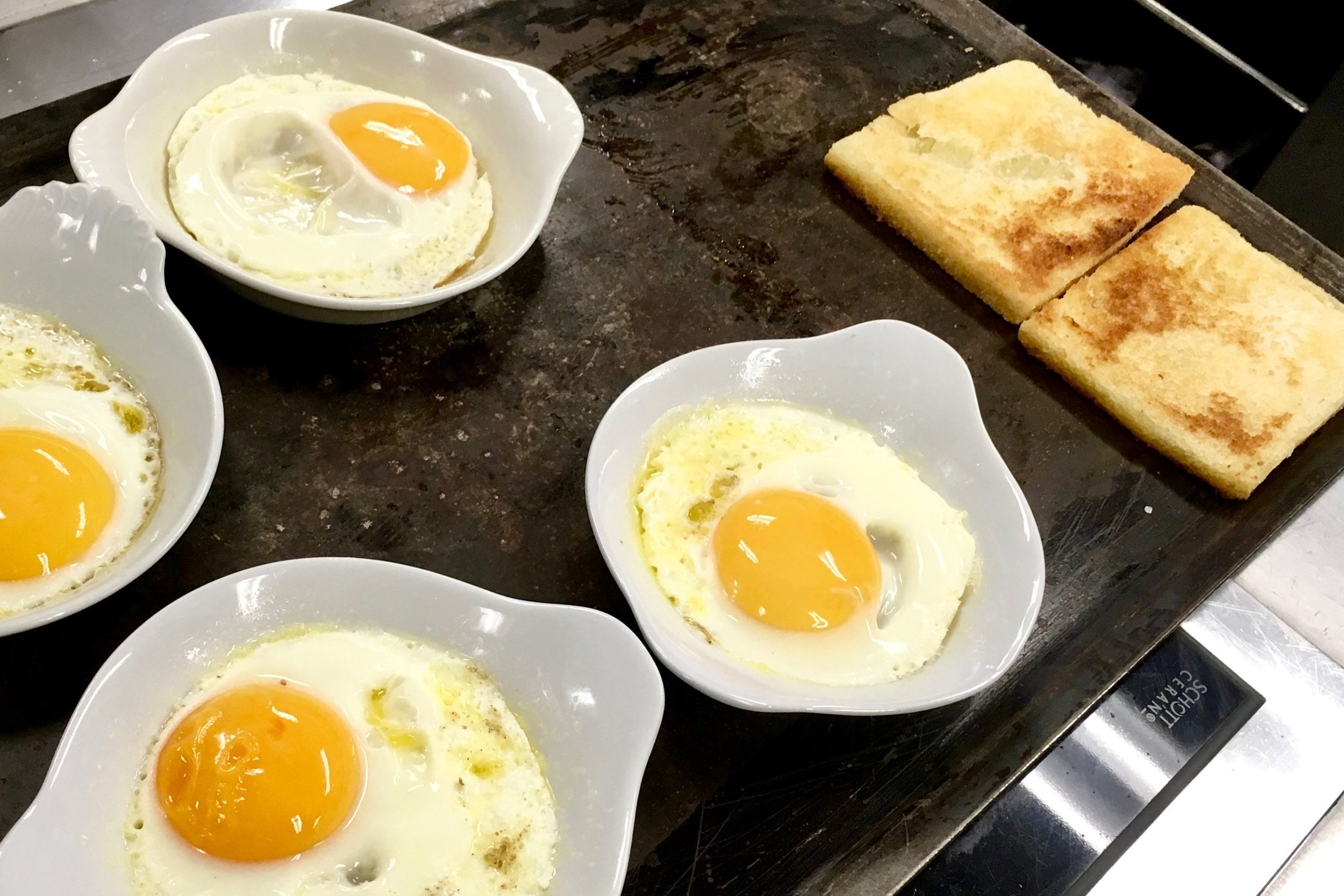 Fried eggs French-style
