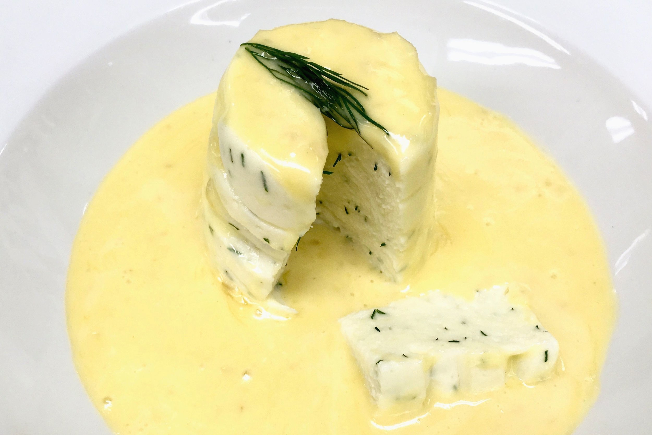 My attempt at a warm plaice mousse with dill and white wine sauce