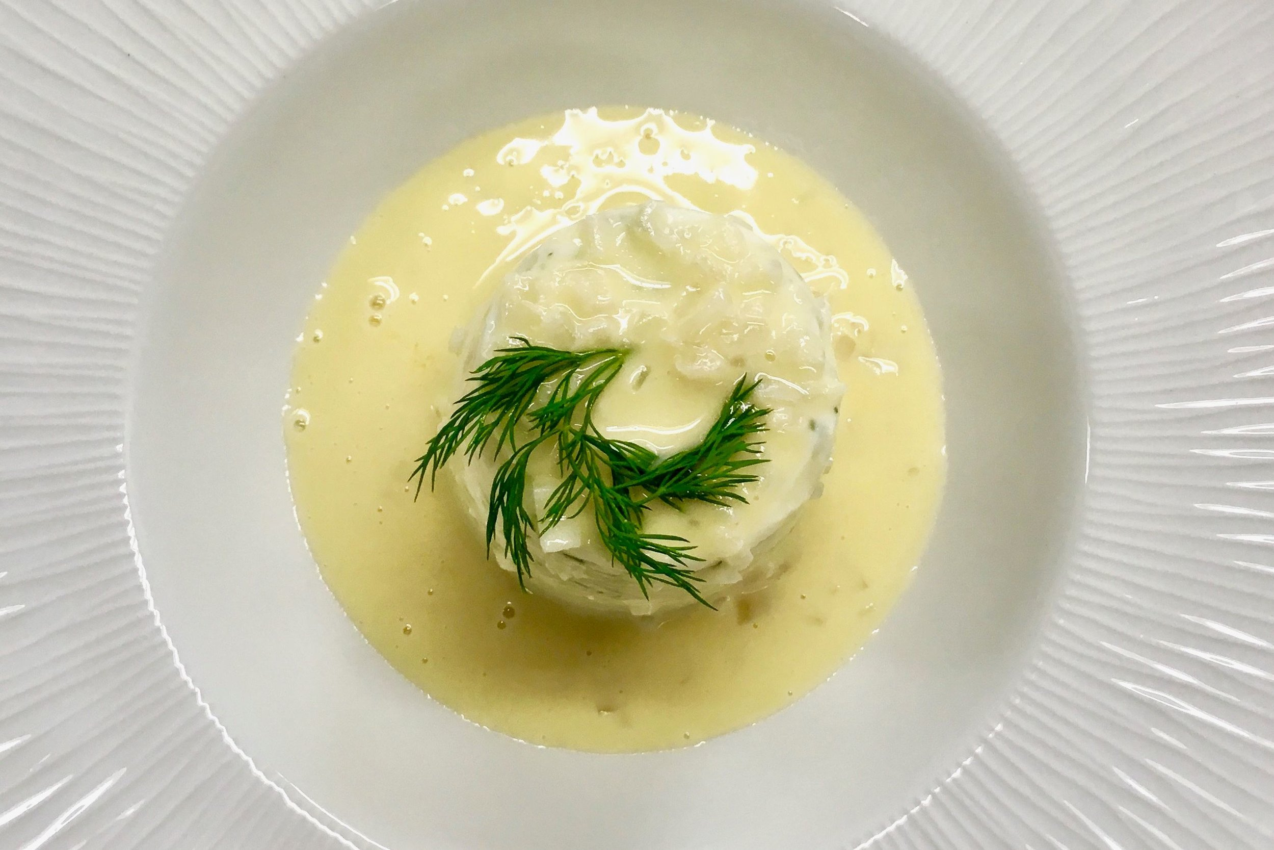 Chef's warm plaice mousse with dill and white wine sauce