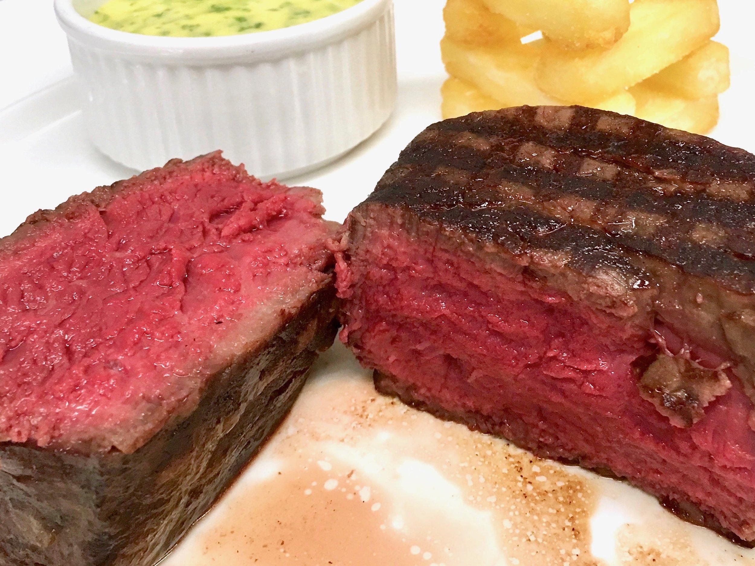 Fillet steak served rare