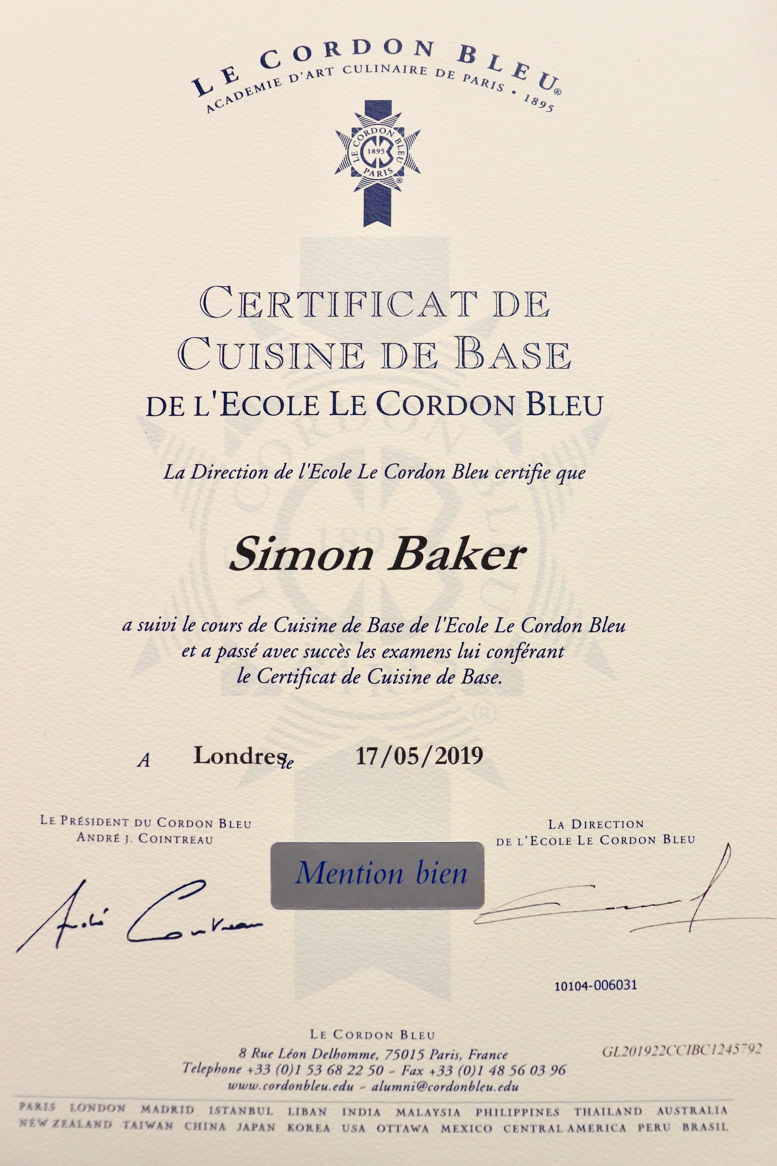Certificate for Basic Cuisine