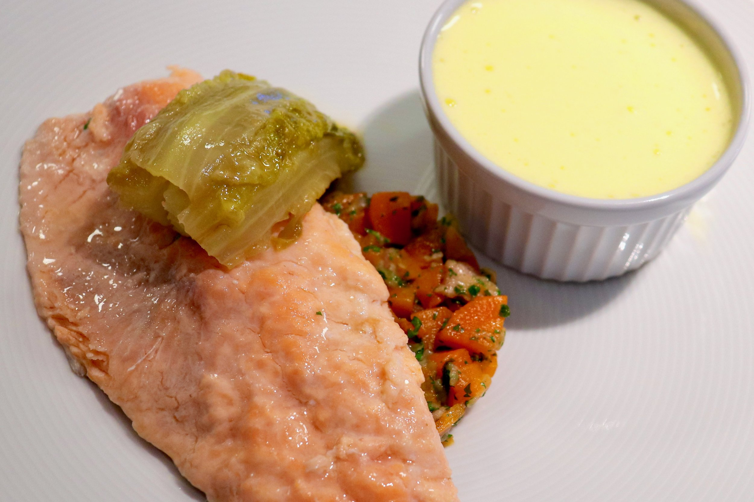 Trout with braised lettuce and Hollandaise