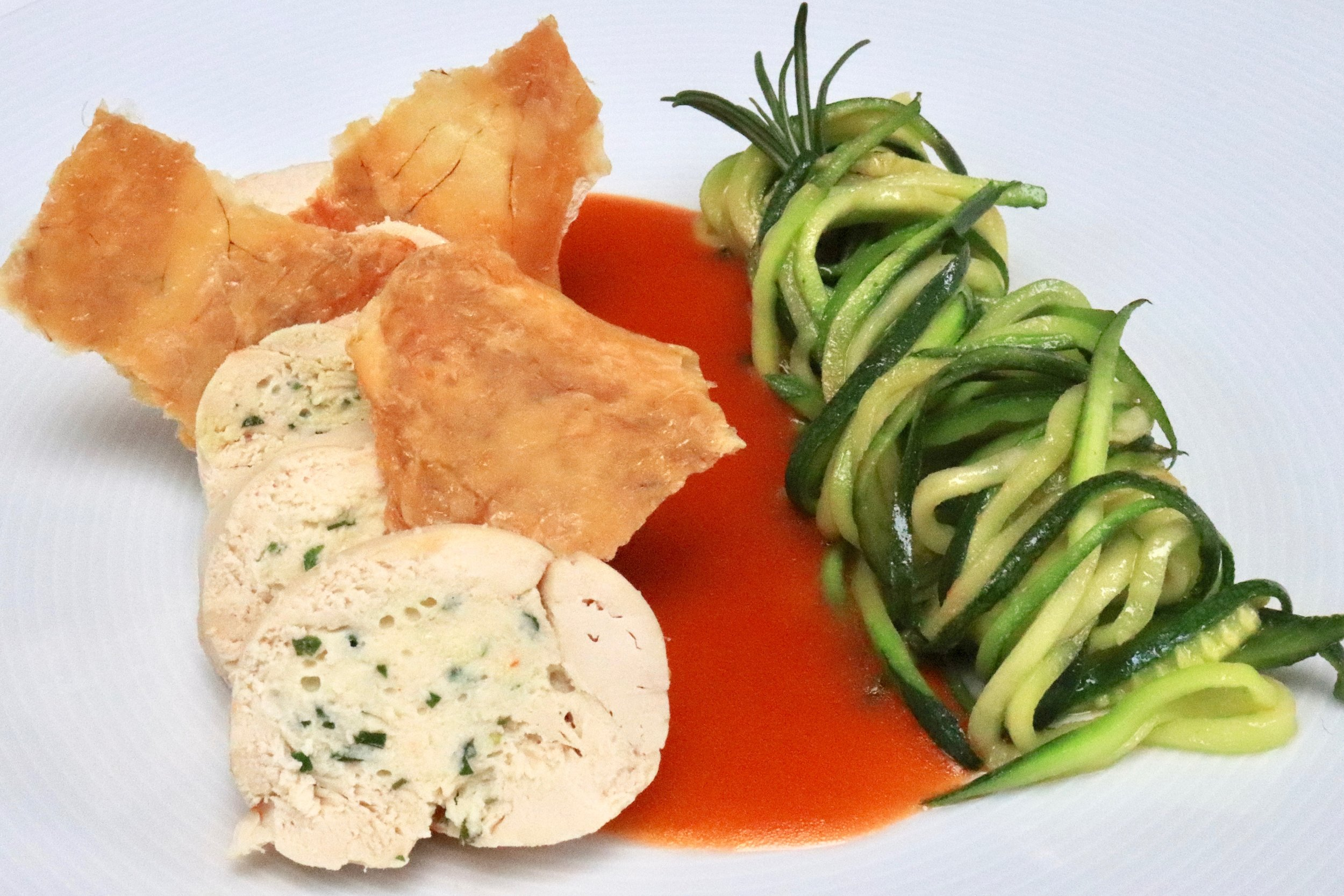 Chicken mousse with courgette spaghetti