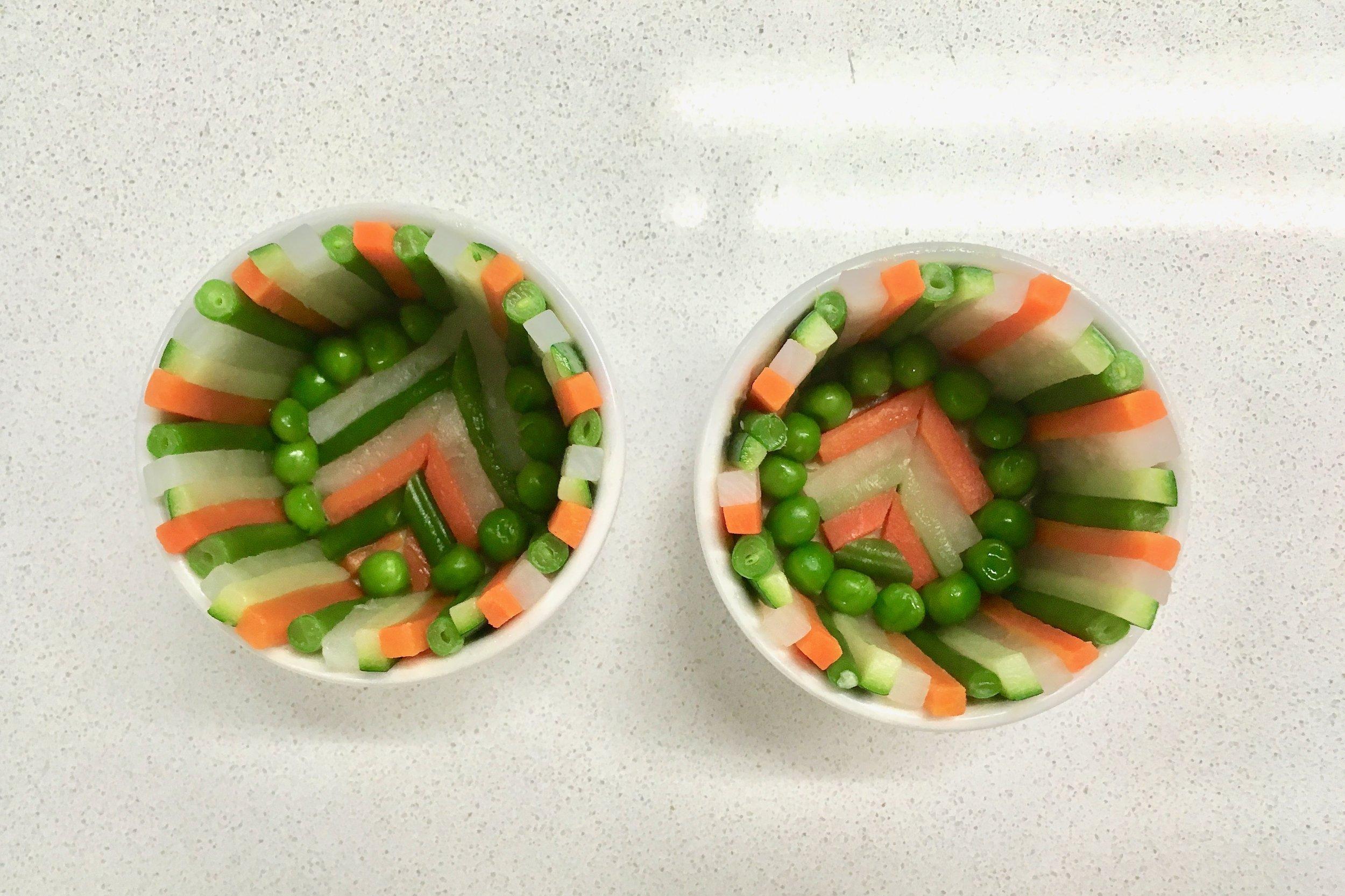 Ornate vegetable arrangements