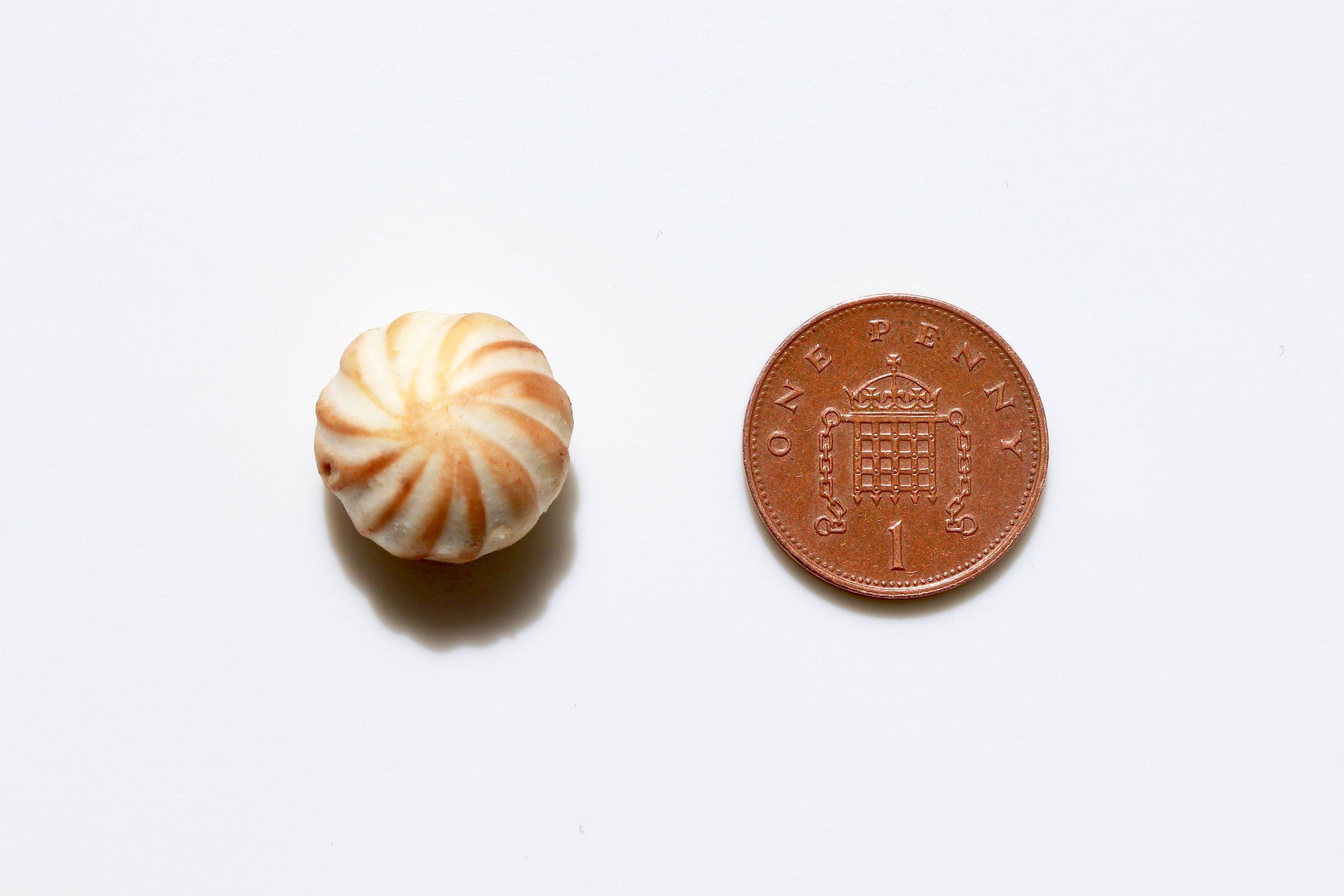 Tiny turned mushroom by chef
