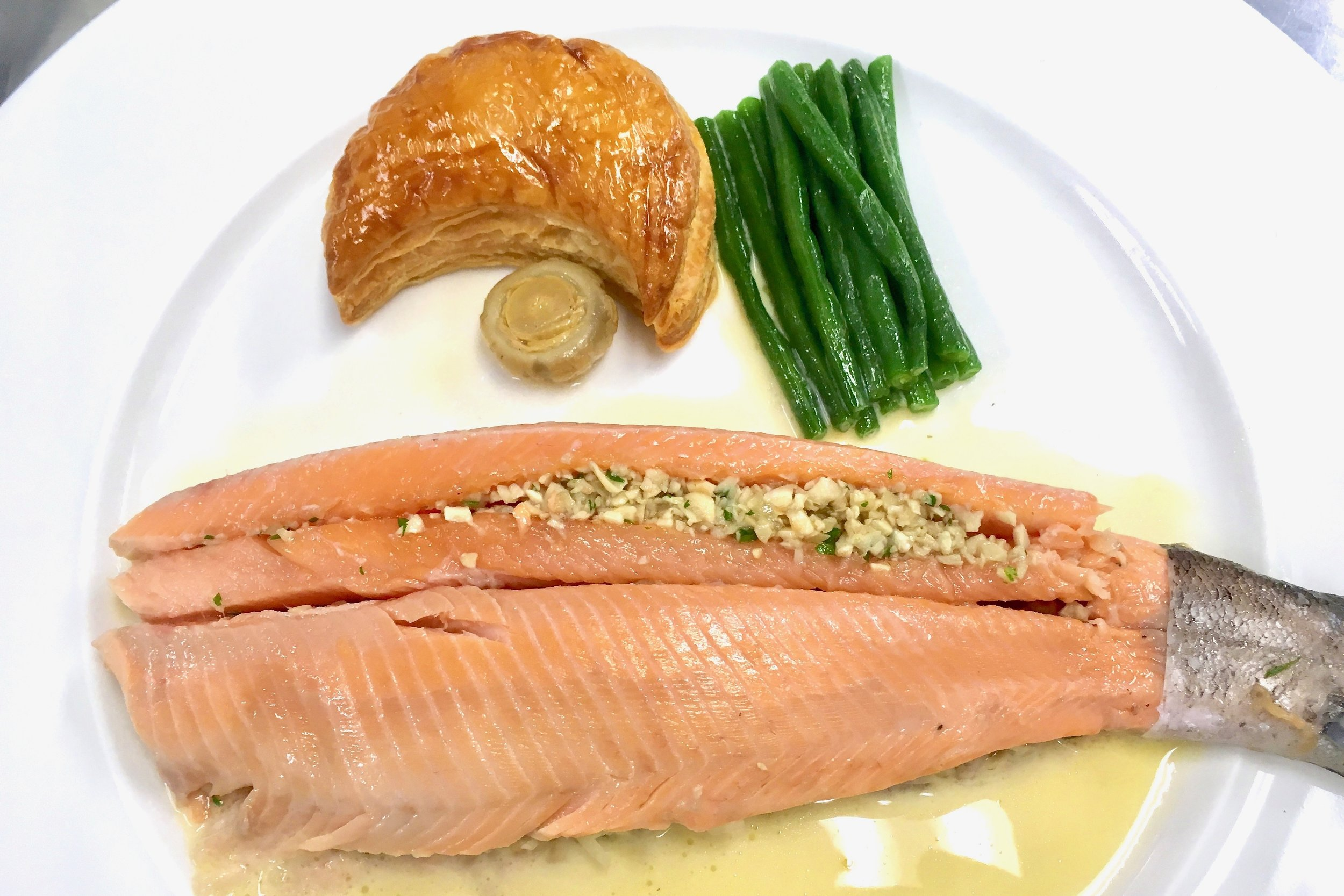 Trout stuffed with Duxelles