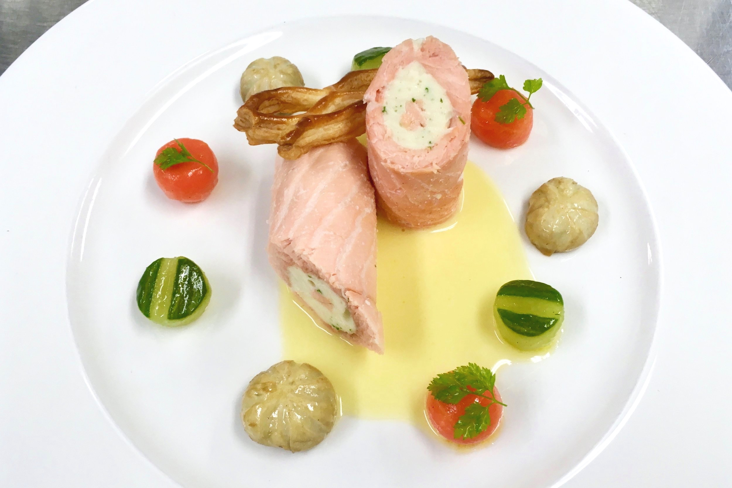 My salmon ballotine with Champagne butter sauce