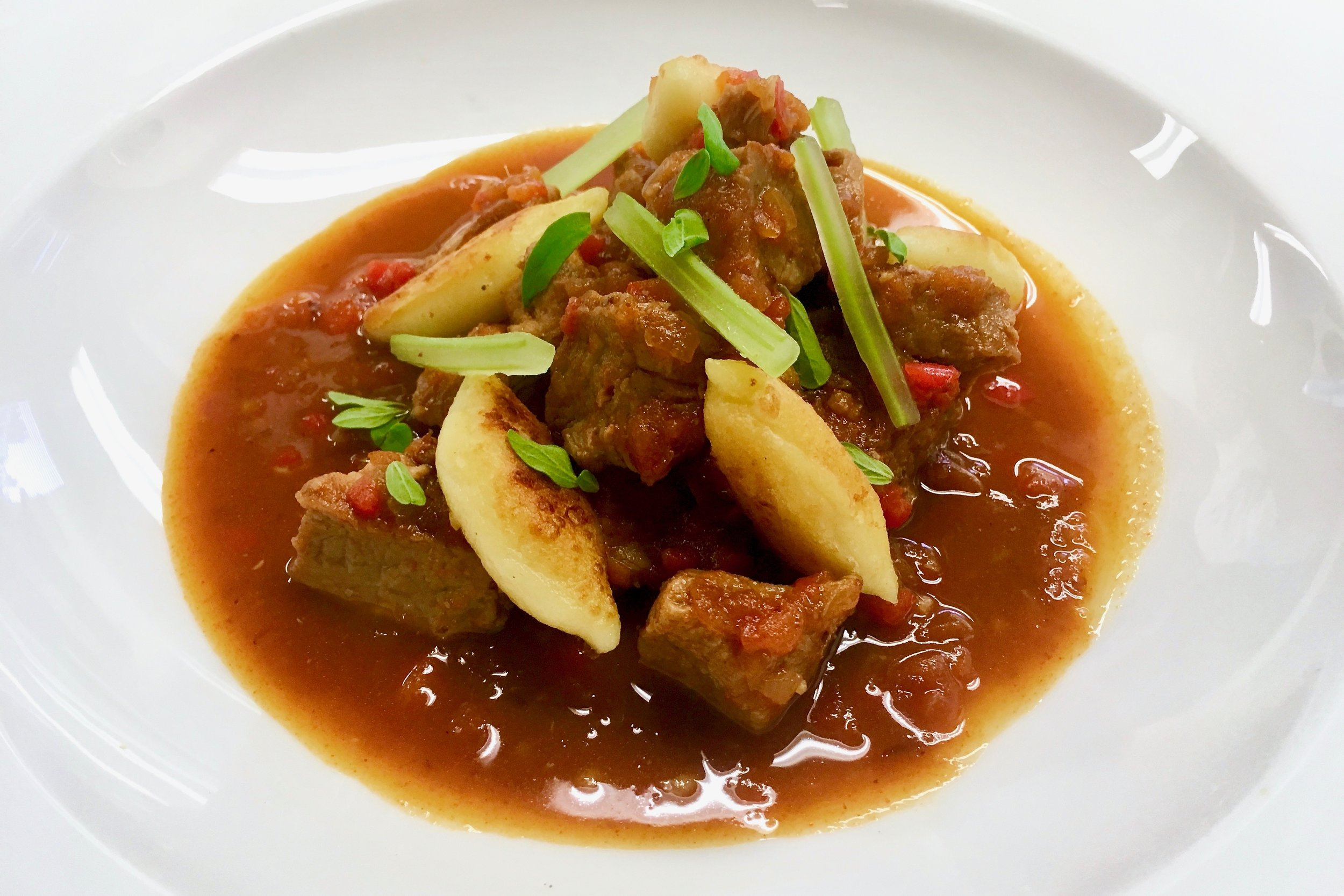 Veal goulash with Hungarian gnocchi