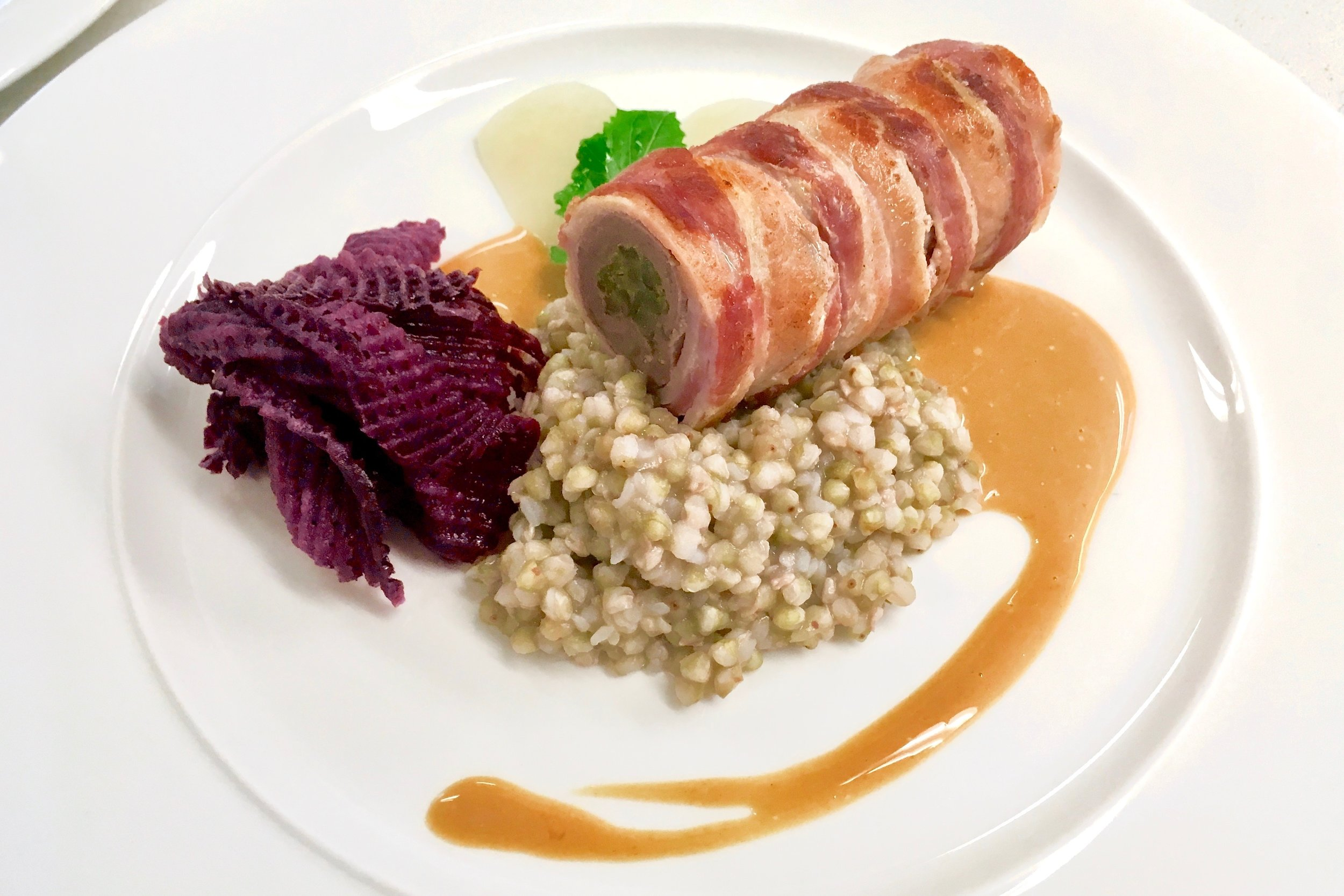 Beef roulade with pickled beetroot and buckwheat groats