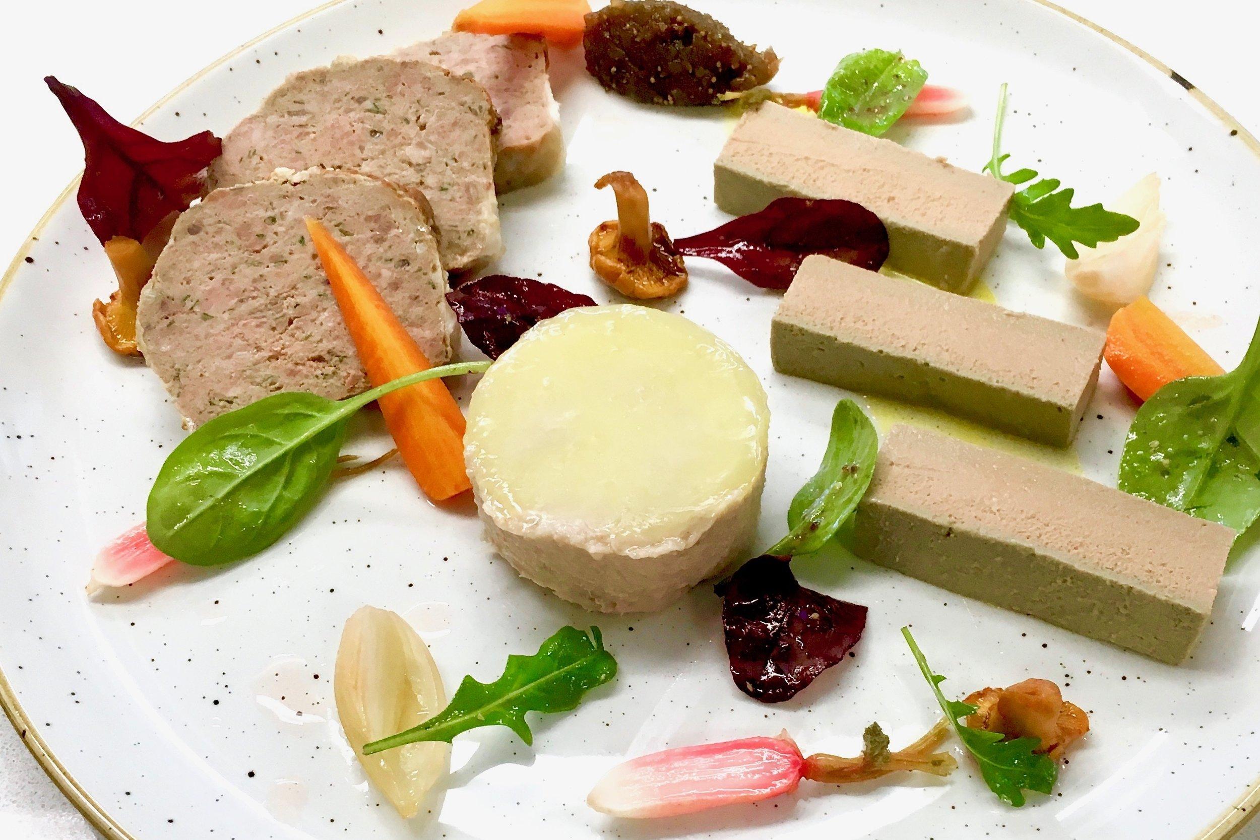 Pâté de Campagne, Parfait de Foie de Volaille and Rillette de Lapin with pickled vegetables and chutney