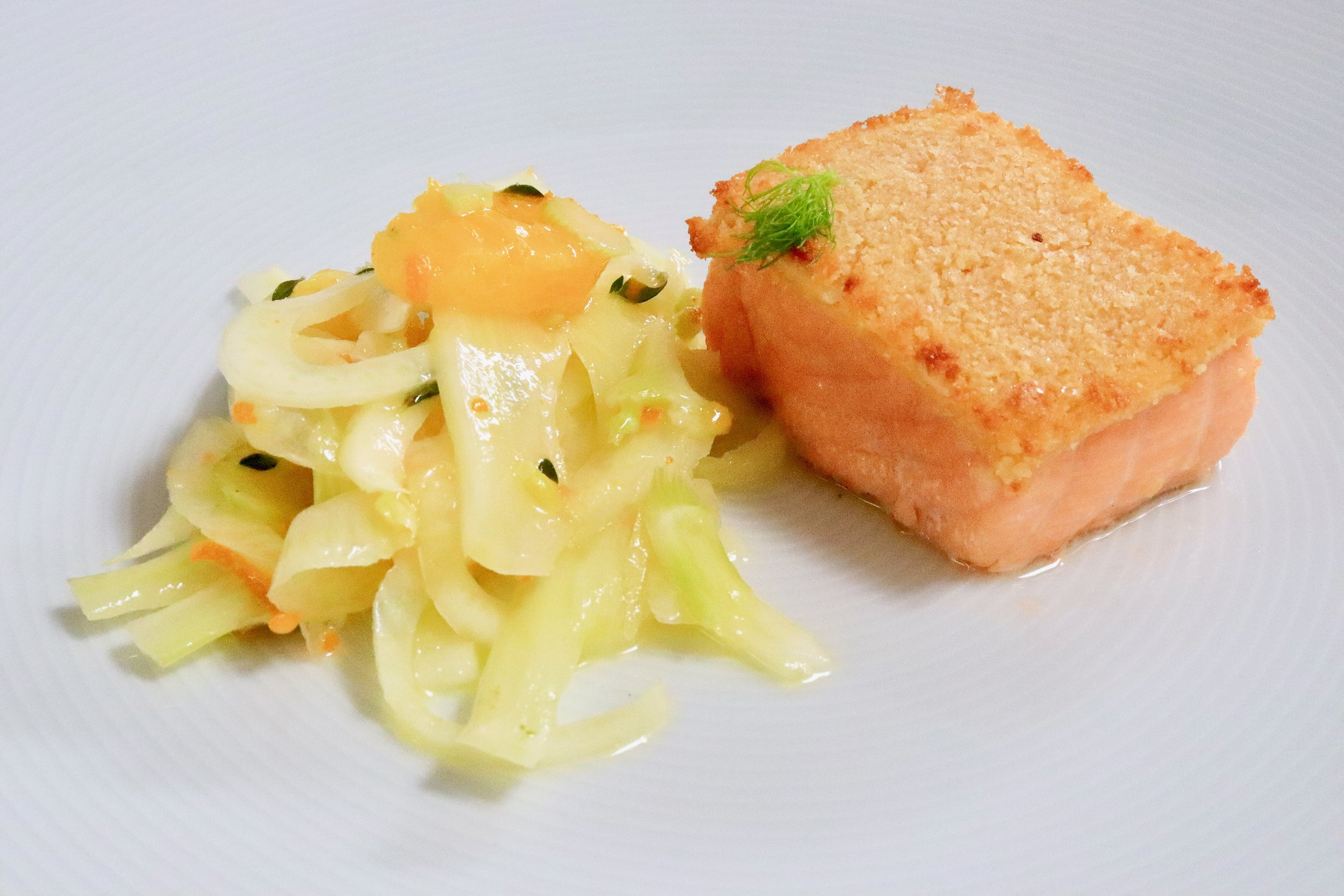 My version of almond crusted salmon with fennel, orange and lemon thyme salad