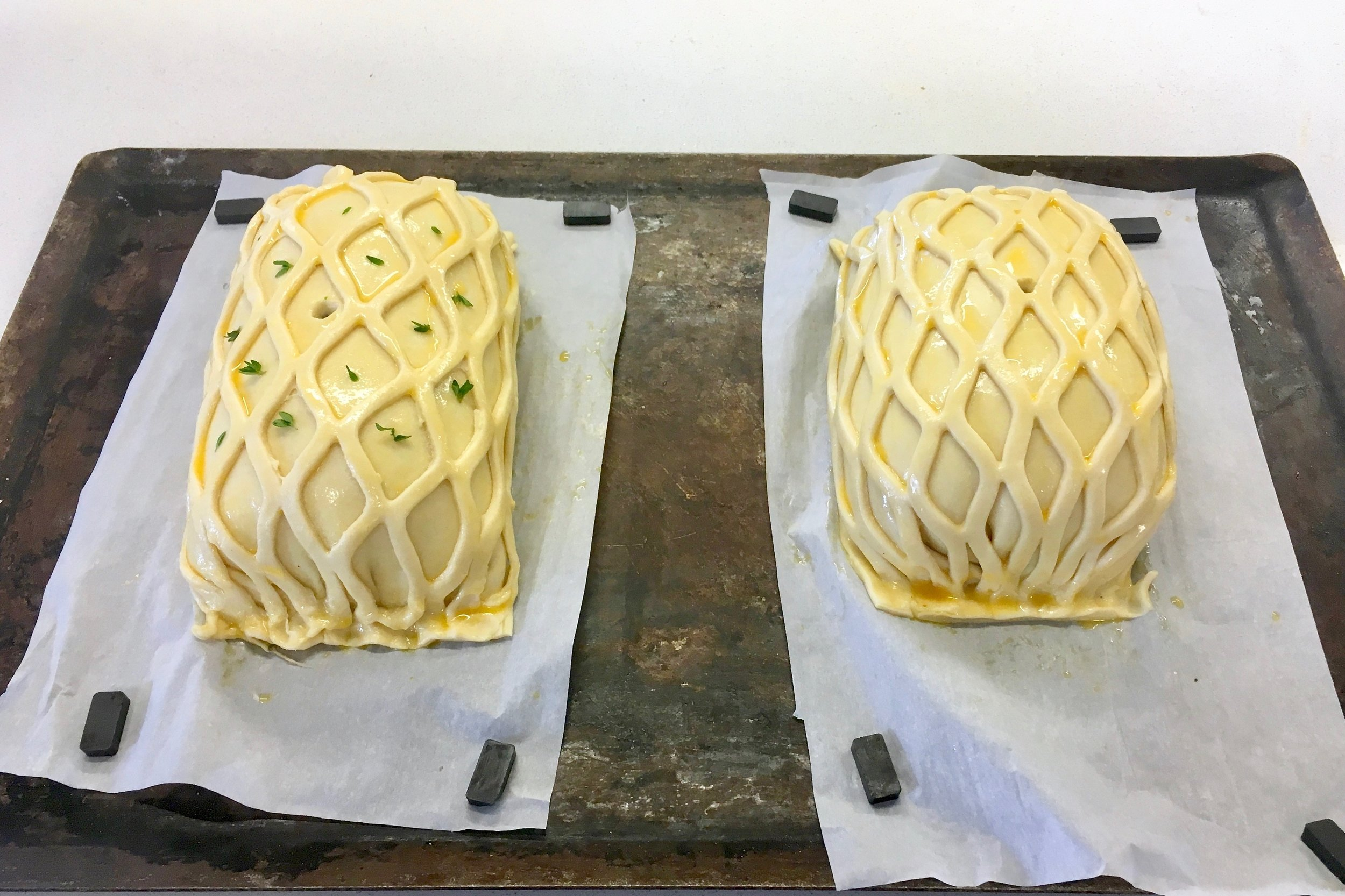 Beef Wellington ready for the oven