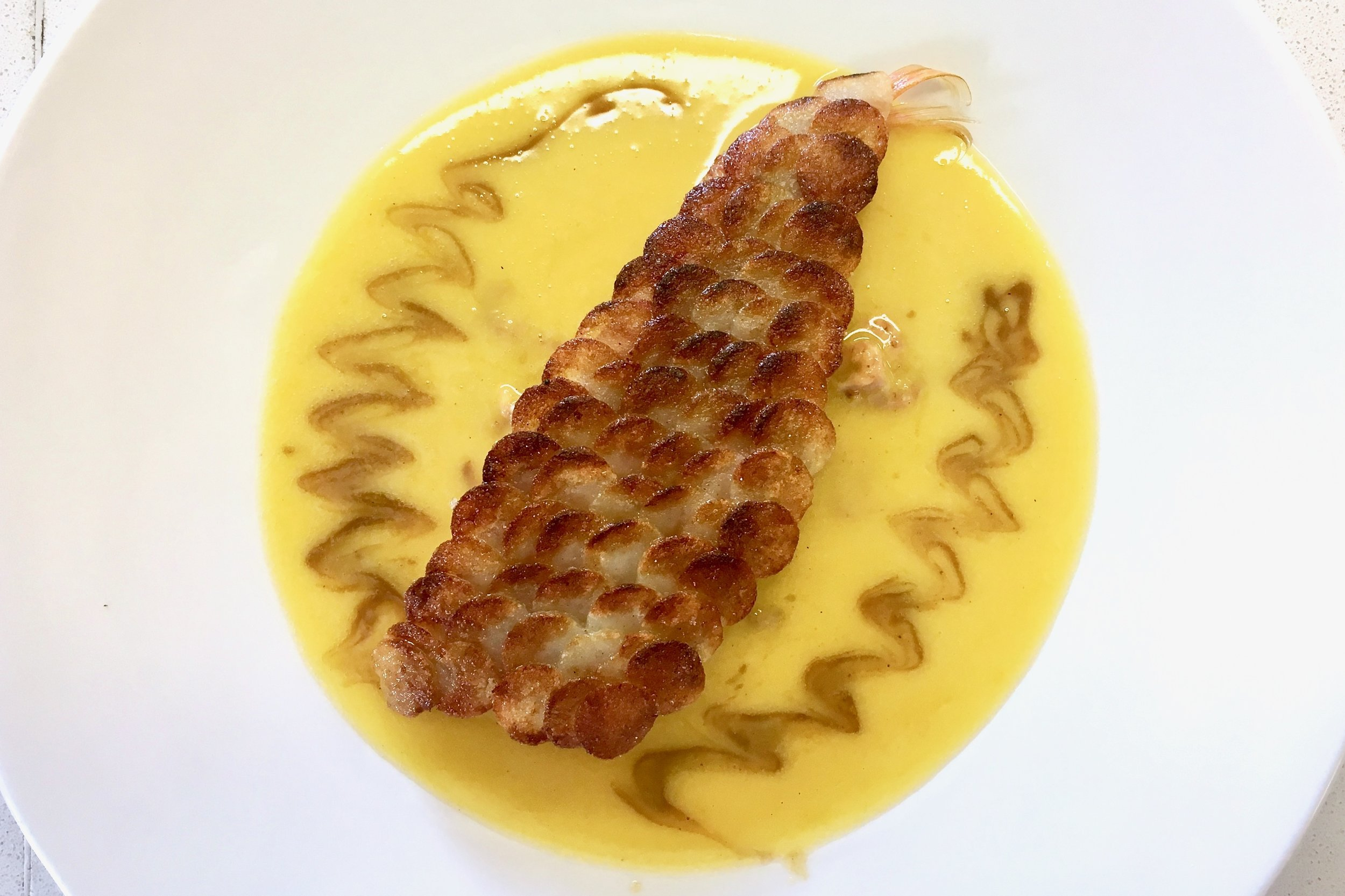 Chef's approximation of the famous Paul Bocuse dish, made with a brown fish sauce