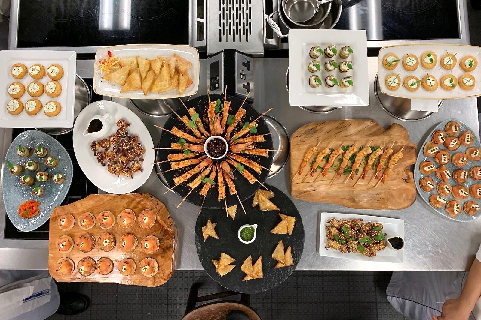 An assortment of hot and cold canapés
