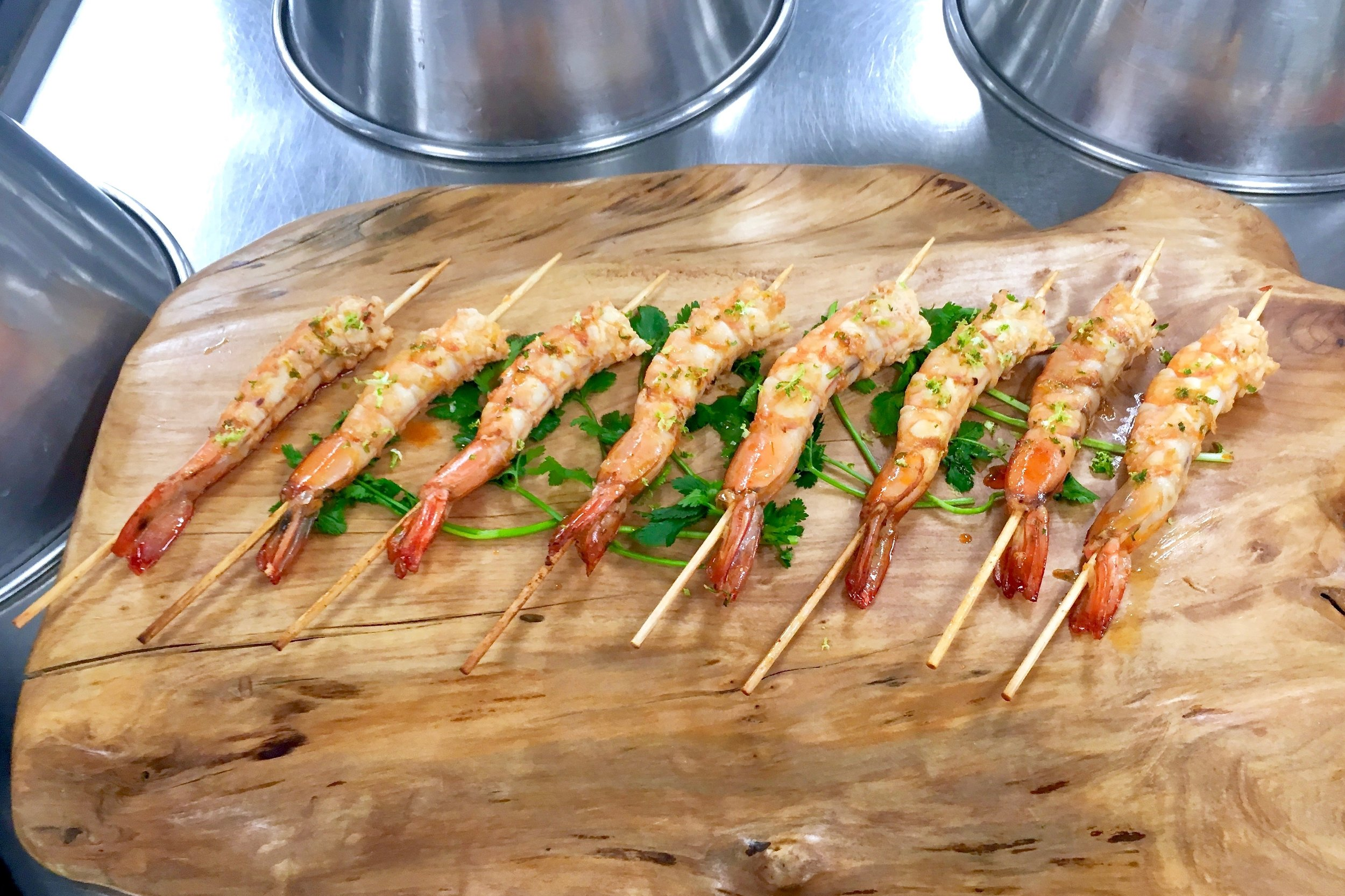 Skewered prawns marinated in Asian spices