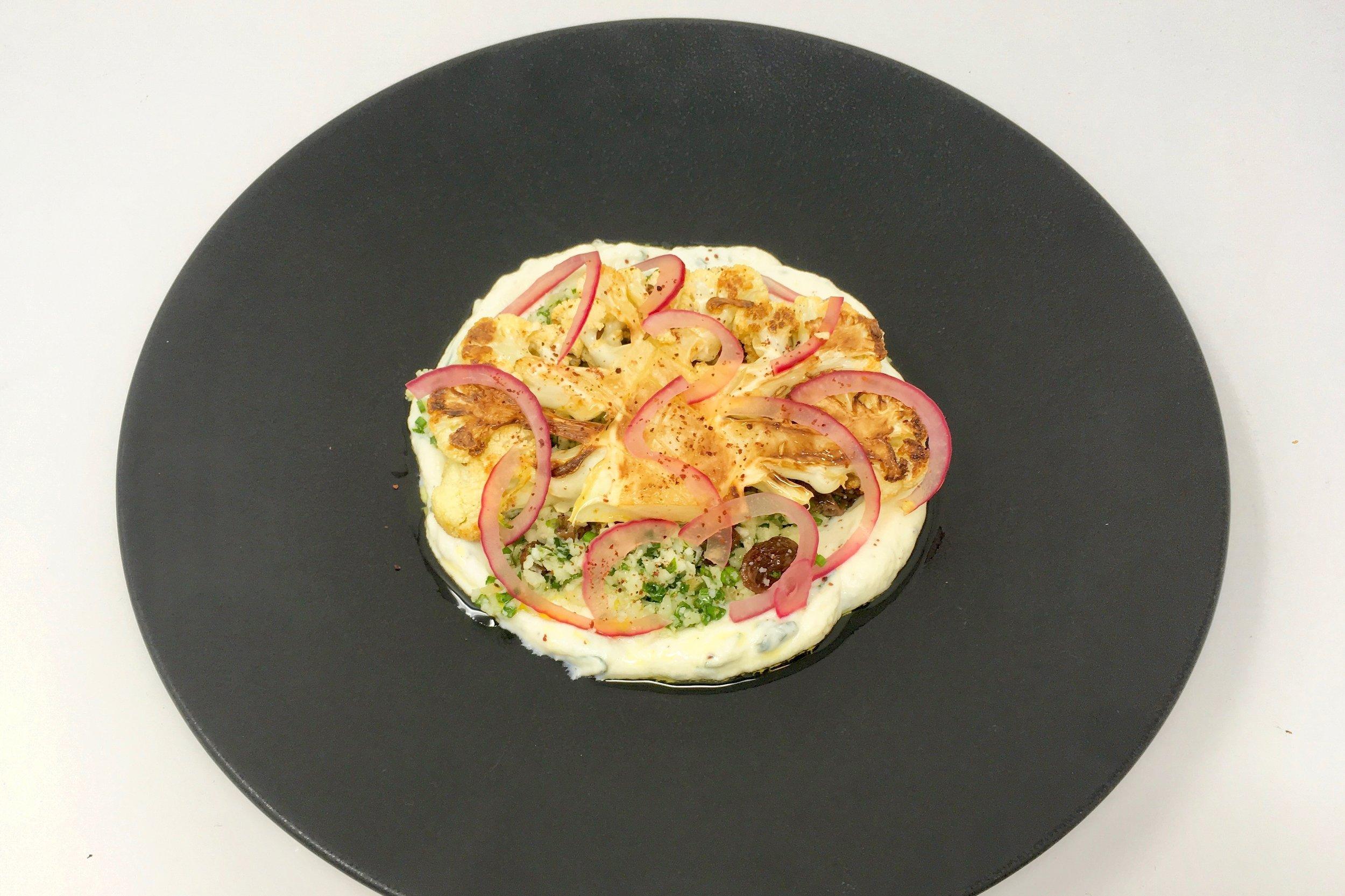 Chef's cauliflower steak with cauliflower couscous