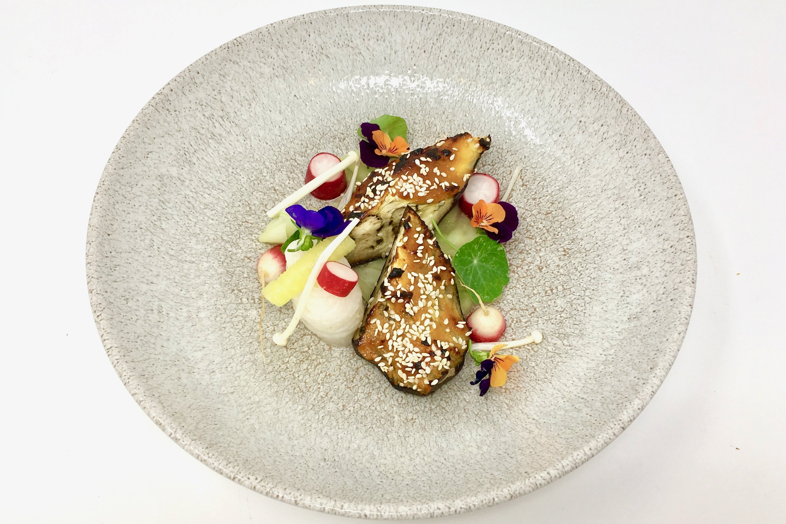 Chef's miso aubergine with pickled cucumber