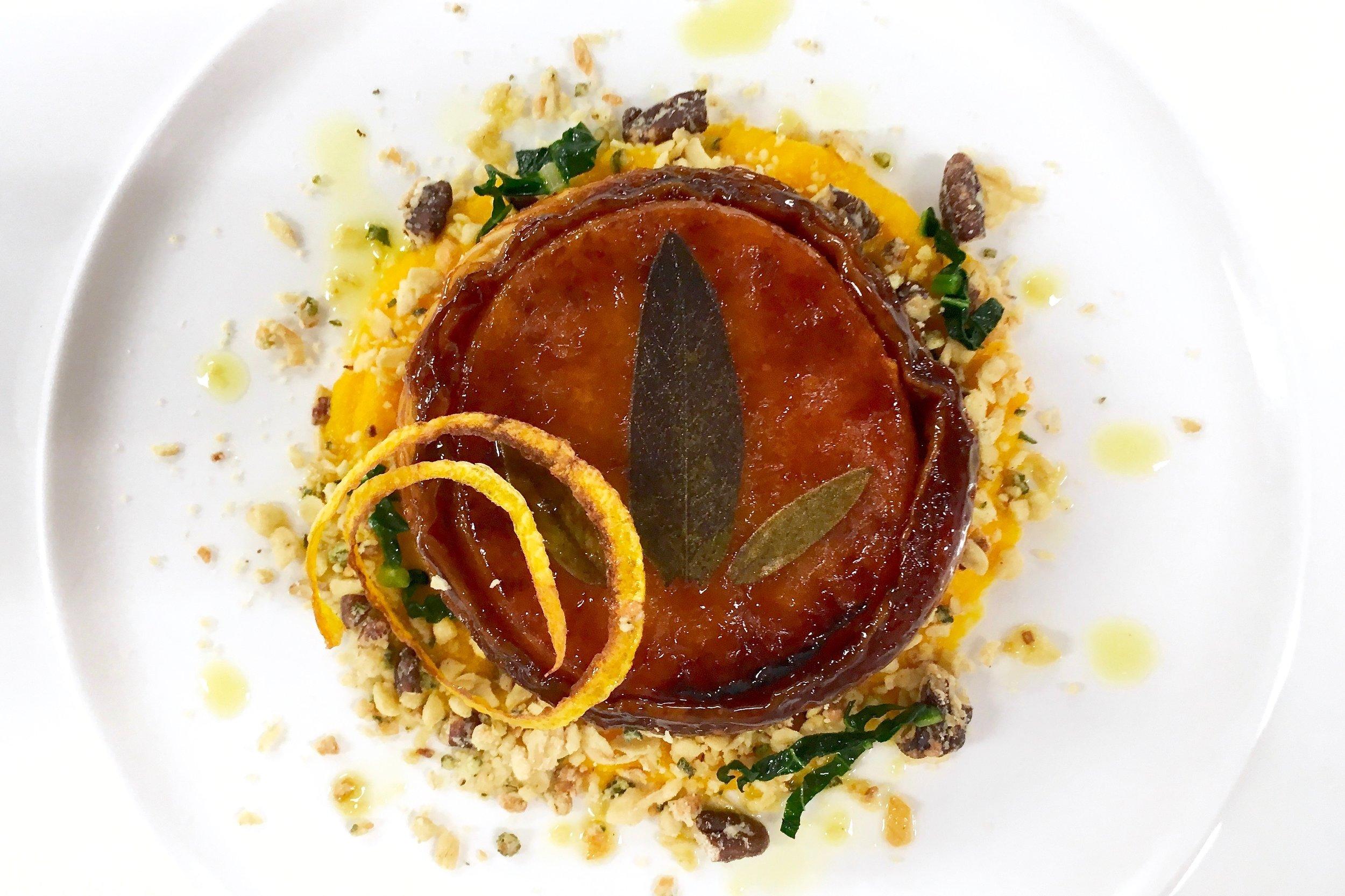 Butternut squash tarte tatin with sage and walnut crumble