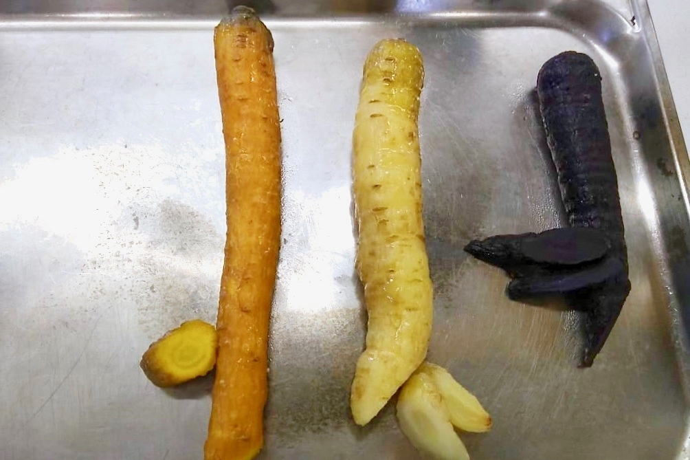 Heritage carrots baked in a salt crust
