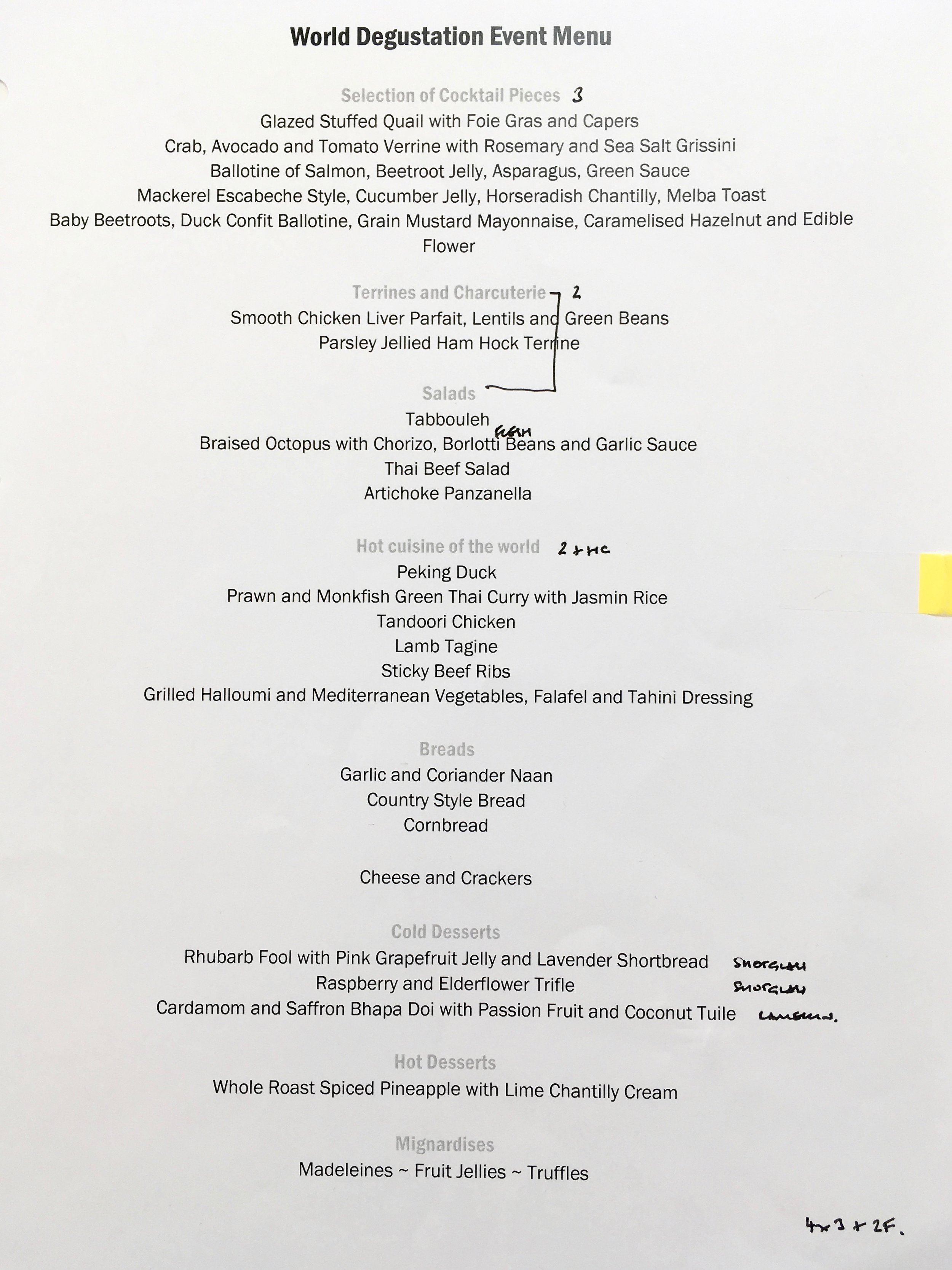 Menu for the Superior Cuisine World Degustation Event