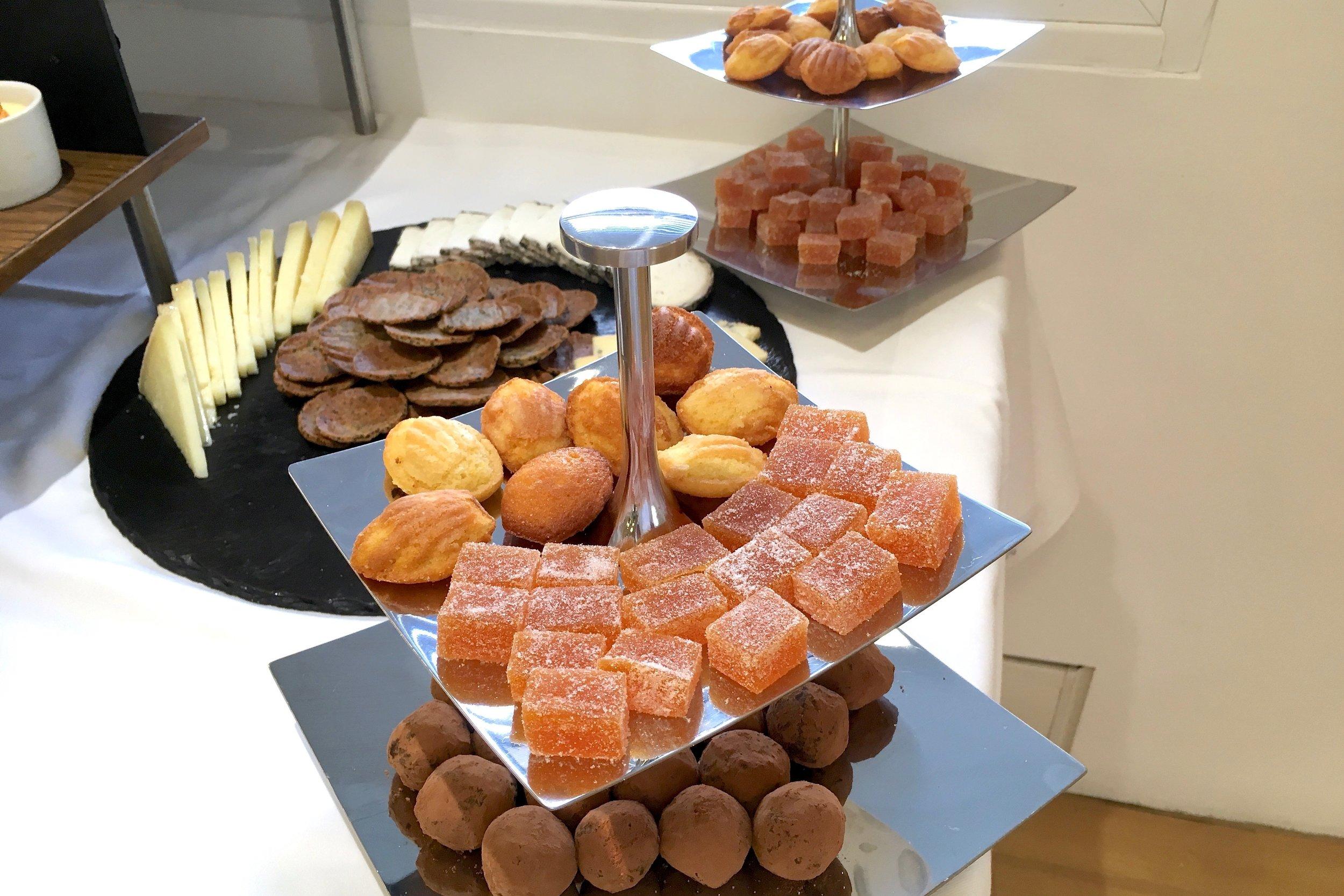 Madeleines, fruit jellies and chocolate truffles