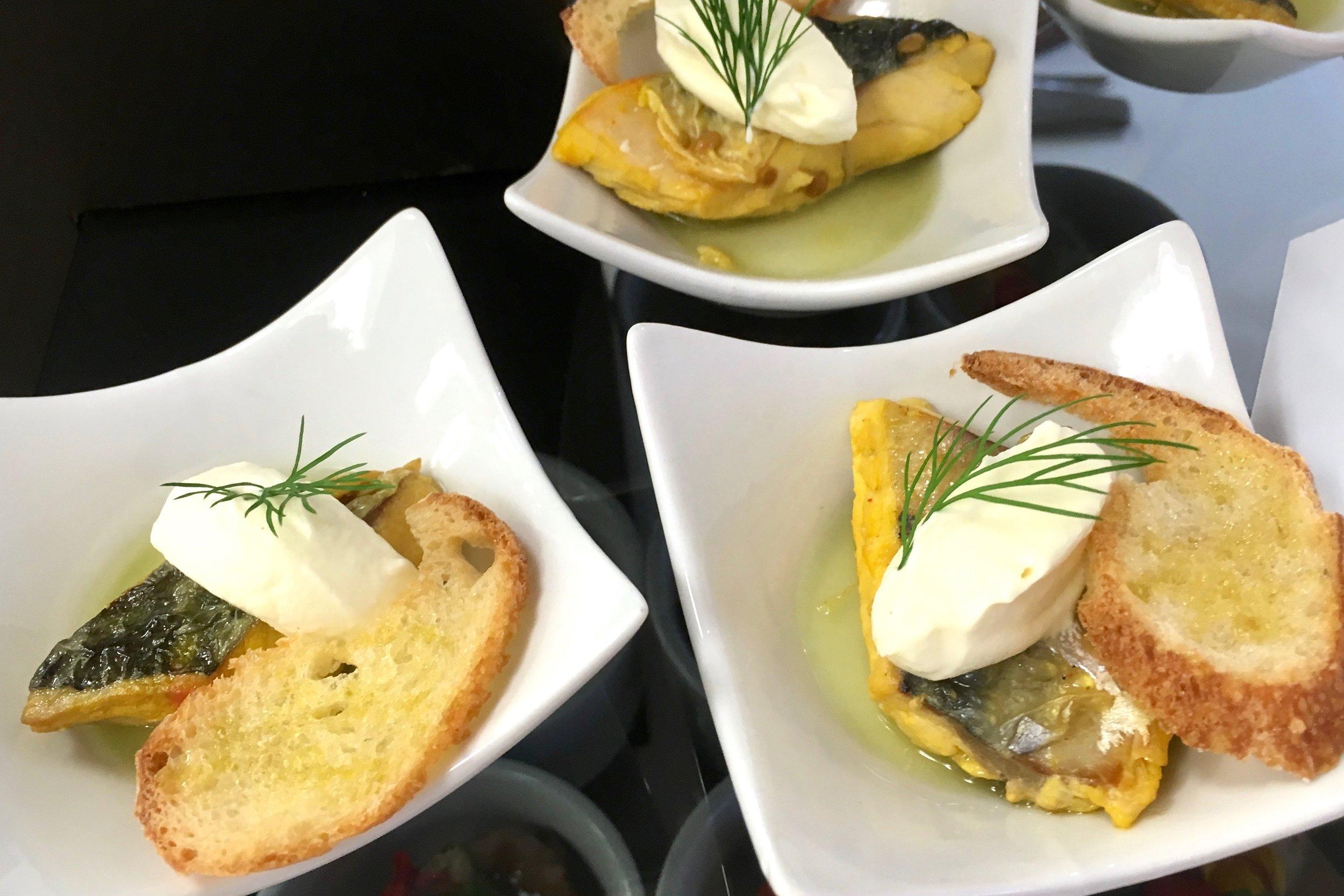 Mackerel escabeche style, cucumber jelly, horseradish Chantilly and melba toast