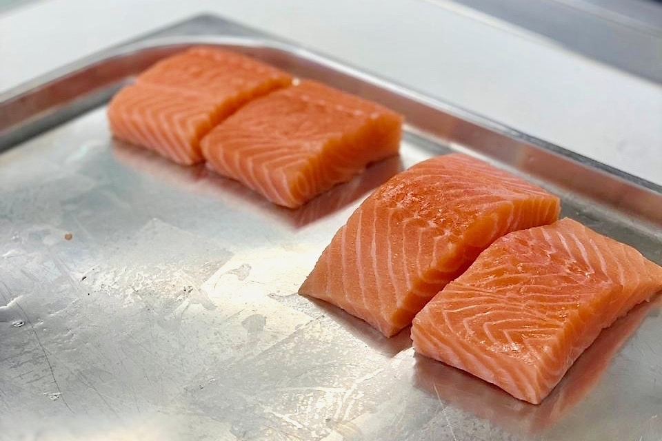Salmon steaks ready for steaming