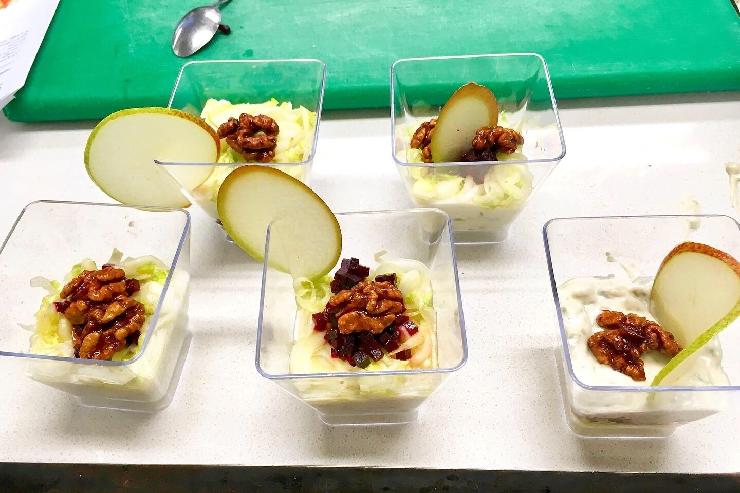 Roquefort cheese, glazed beetroot brunoise, compressed pear and candied walnut