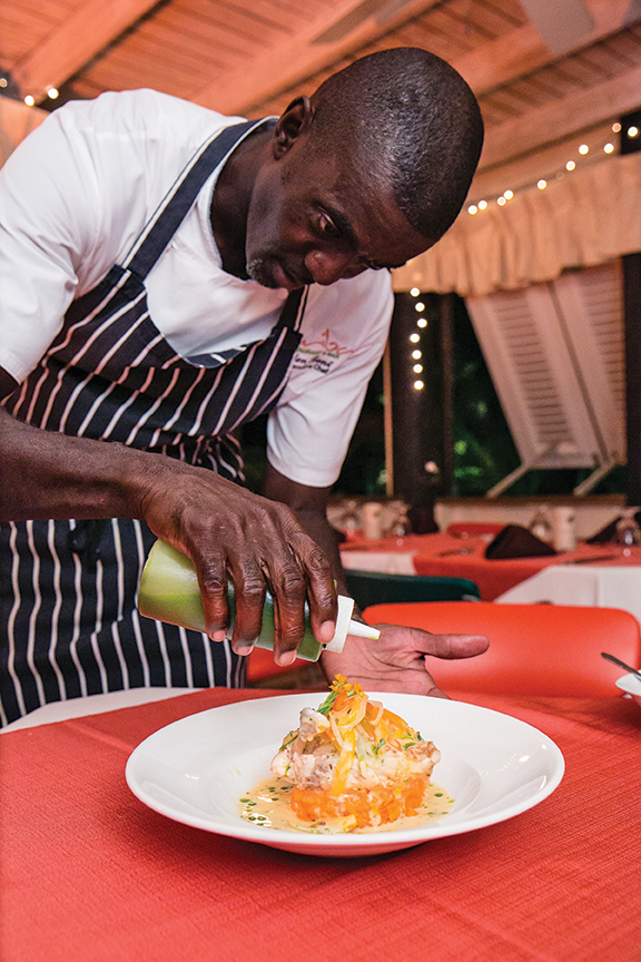 Coconut Chicken with Sweet Potato Mash - Cariba Restaurant Barbados
