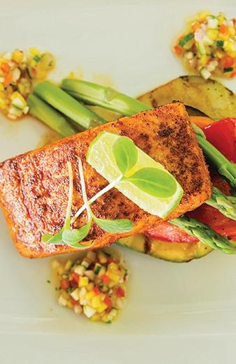 Cajun Salmon with Mango and Cucumber Salsa Recipe - Champers Barbados