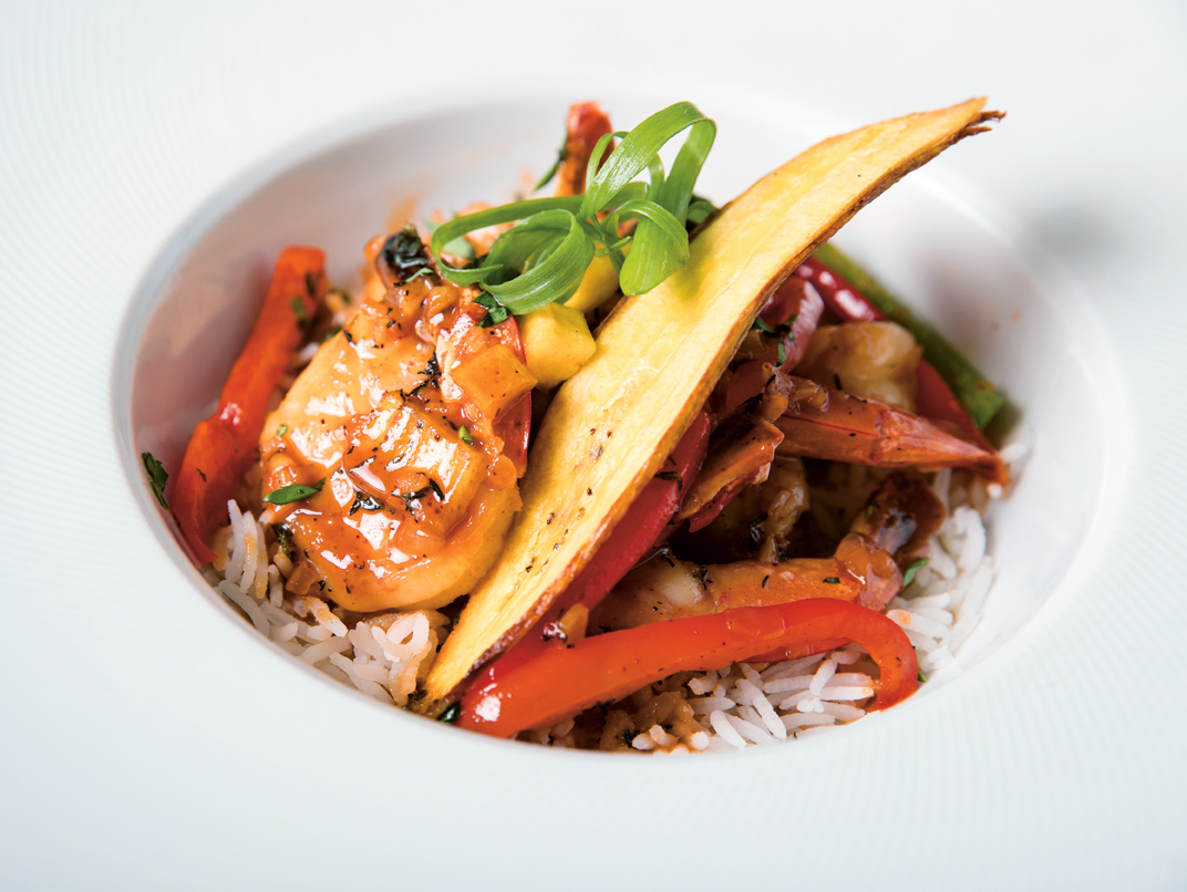 Caribbean Shrimp Curry with Coconut Milk and Green Plantains - The Fish Pot Barbados