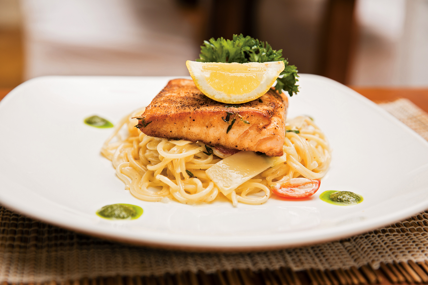 Pan-seared Snapper with Spaghetti and Lemon-Cream Sauce - D'onofrio's Barbados