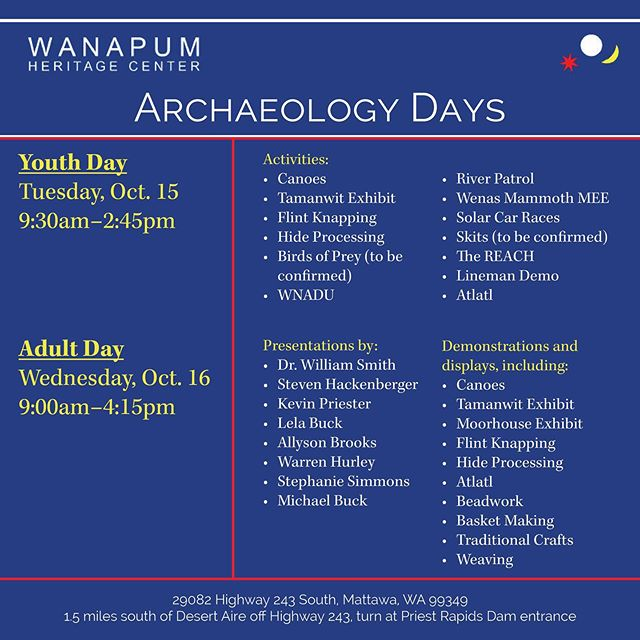 Every October in recognition of archaeology month, the Wanapum and Grant PUD invite members of the public and press to Archaeology Days. This event provides a unique opportunity for children and adults to come face-to-face with the Wanapum way of life. 🔸 Hope to see you next month at the Wanapum Heritage Center! 🔸 This event is not hosted by JONA.