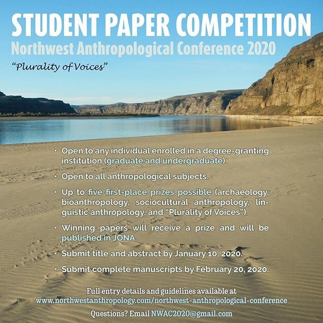 Calling all students! The NWAC 2020 Student Paper Competition has been announced. Yes, FIVE first-place prizes possible! ✏️✏️✏️ See the full guidelines on our website (link in bio) and get started early! Winners will receive a prize and will be published in the Journal of Northwest Anthropology. ✏️✏️✏️ See you in Ellensburg, WA, March 25-28, 2020!