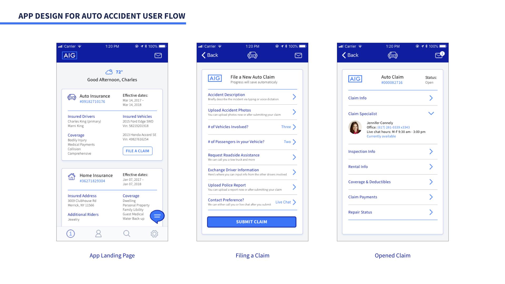 App Design for Auto Accident User Flow