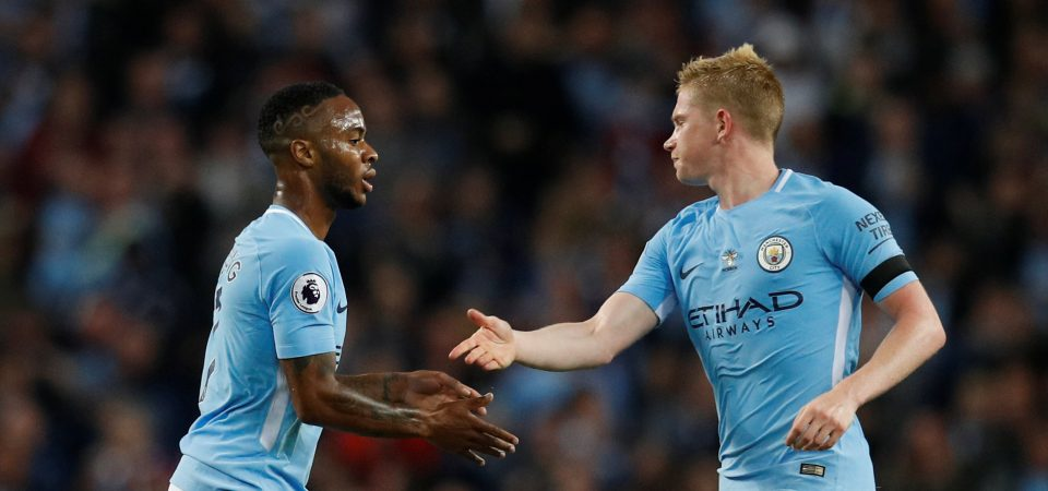 Raheem Sterling and Kevin De Bruyne celebrate goal for Manchester City in the English Premier League