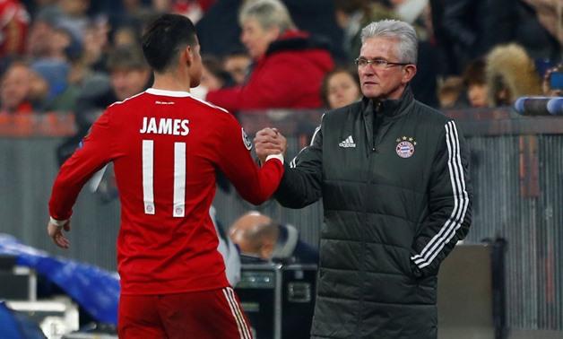Heynckes and James Rodriguez celebrate goal for Bayern Munich in the Bundesliga