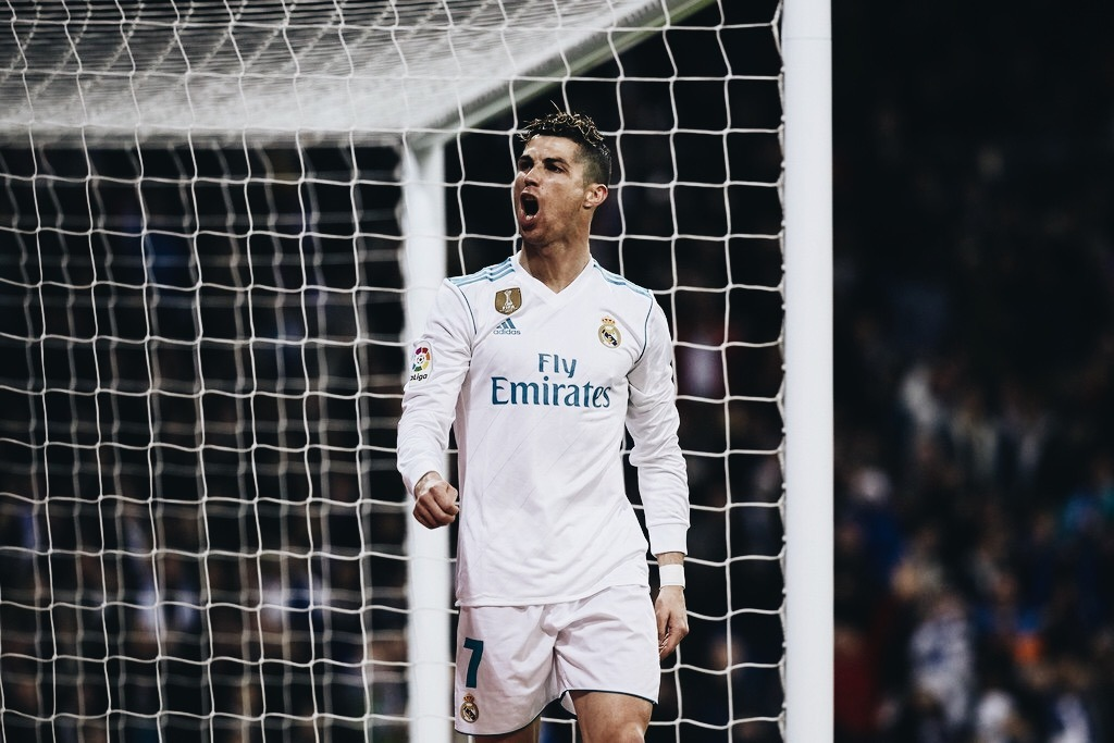 Real Madrid player Cristiano Ronaldo celebrates a goal in the UEFA Champions League