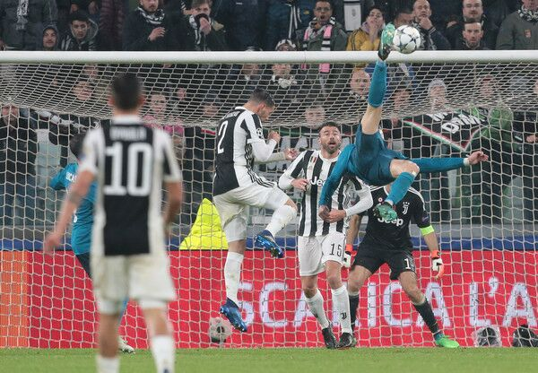 Real Madrid player Cristiano Ronaldo scores a bicycle kick against Juventus in the UEFA Champions League