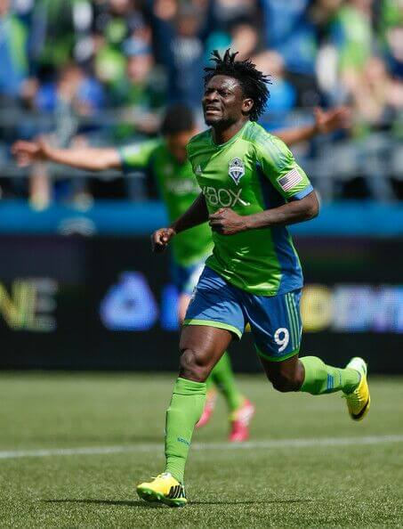 Obafemi Martins celebrates a goal for the Seattle Sounders in the MLS