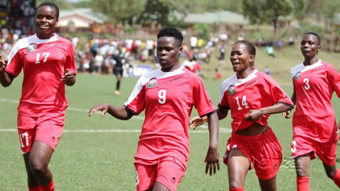 Kenya Women's National team celebrate a goal in the Africa Women Cup of Nations
