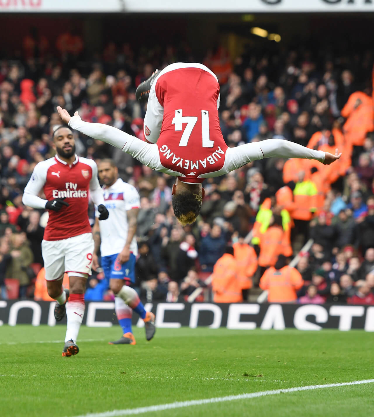 Pierre-Emerick Aubameyang scores for Arsenal against Southampton in the English Premier League