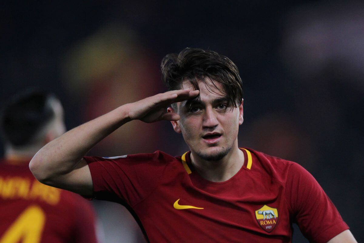 Cengiz Ünder celebrates a goal for AS Roma in Italy's Serie A