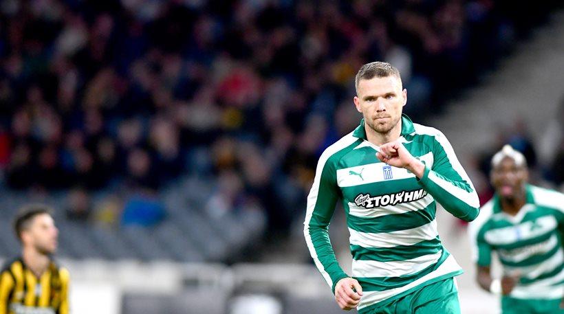 Panathanikos player Marcus Berg scores a goal