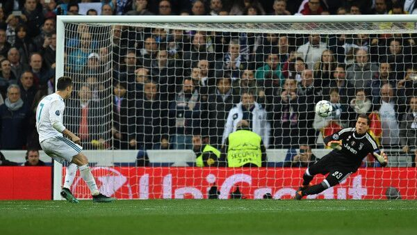Real Madrid forward Cristiano Ronaldo scores a pk against Juventus in UEFA Champions League