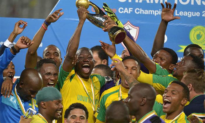 Mamelodi Sundowns celebrate winning the PSL ABSA