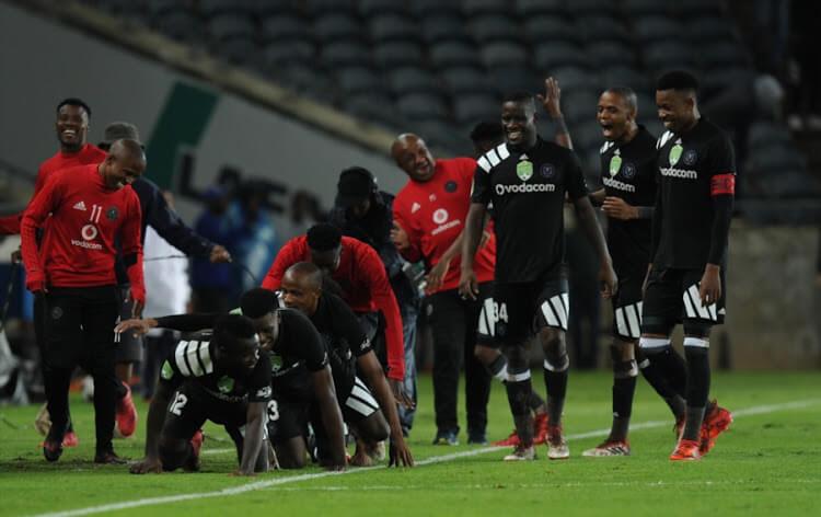 orlando pirates celebrate a goal against the mamelodi sundowns in the PSL