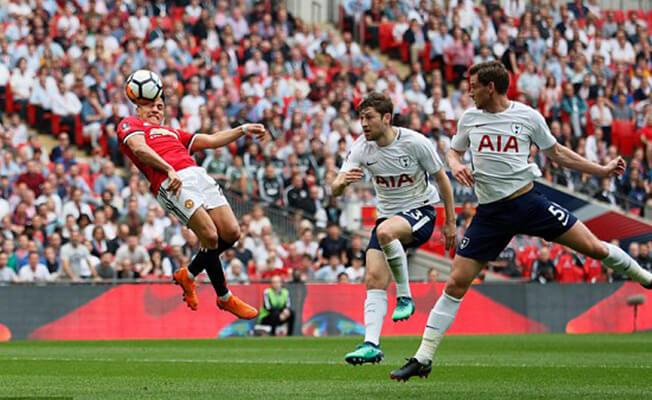 Manchester United forward Alexis Sanchez scores against Tottenham in the FA Cup