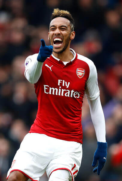 Pierre Aubameyang in action for Arsenal FC in English Premier League